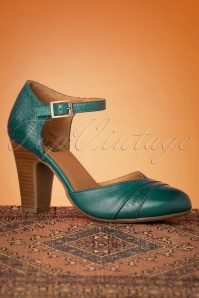 50s Jay Leather Pumps in Marine Teal