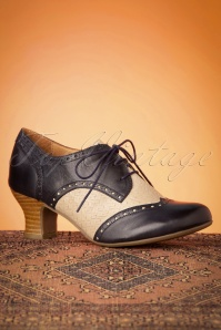 Miz Mooz 40s Tully Leather Shoe Booties in Navy and Cream