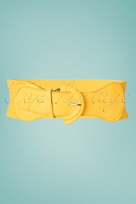 Collectif Clothing 50s Maxine Cinch Stretch Belt in Yellow