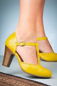 50s Joelle T-Strap Pumps in Yellow