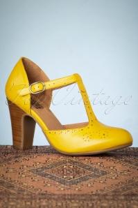 Miz Mooz 32073 Joelle Yellow Tstrap Heels 200110 008 W
