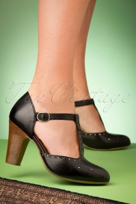 Miz Mooz 50s Joelle T-Strap Pumps in Black
