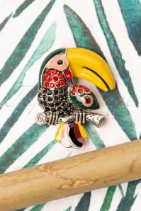 Collectif Clothing 50s Tucan Brooch in Black and Yellow