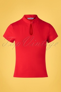 50s Mandarin Collar Top in Red