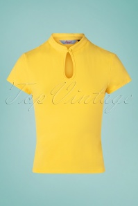 50s Mandarin Collar Top in Yellow