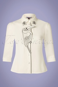 Banned 33122 Toucan Blouse Ivory White 11052019 003W