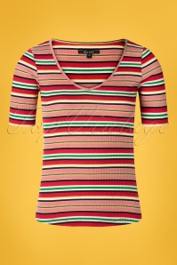 King Louie 60s Carice Poolside Stripes V Top in Chili Red