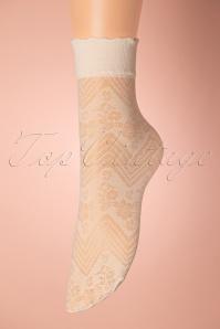 Fiorella Flowerbed Socks Années 60 en Ècru