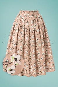 Fresh Bloom Swing Skirt Années 50 en Nude