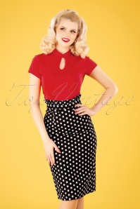 Banned 33113 Polka Frill Pencil Skirt Black 11072019 040MW