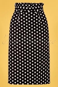 Banned 33113 Polka Frill Pencil Skirt Black 11072019 002W