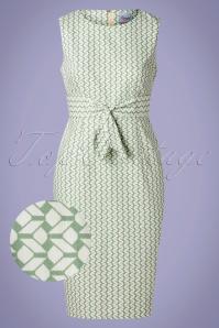 60s Tile Wiggle Dress in Mint