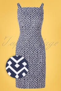 Banned 33145 Tile Print Skinny Dress Navy 11072019 002Z