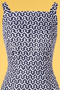 Banned 33145 Tile Print Skinny Dress Navy 11072019 002V