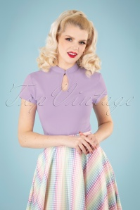 50s Mandarin Collar Top in Lilac
