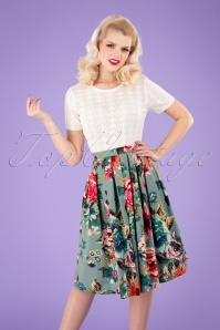 50s Flare Floral Swing Skirt in Duck Egg Blue