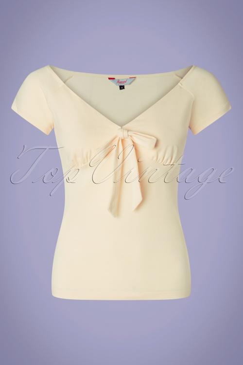 Banned Retro 33153 Bow WOW Cream Shirt 200116 003W