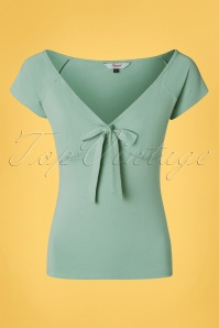 Banned Retro 50s Bow Wow Top in Duck Egg