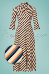 Closet London 33335 Asymmetric Cream Striped Dress 200116 004Z