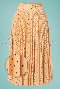 Closet London 50s Aubrey Pleated Pin Dot Skirt in Apricot
