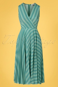 Closet London 33339 Teal Pleated Warp Blue Striped 200116 005W