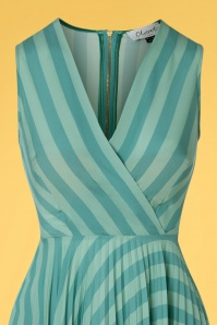 Closet London 33339 Teal Pleated Warp Blue Striped 200116 005V