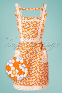 Collectif Clothing 50s Louise Flower Apron in Orange