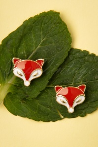 Topvintage Boutique 33201 Fox Studs earrings Orange Green 200116 005 W