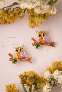 Topvintage Boutique 33200 Owl Studs earrings Orange Green 200116 016 W