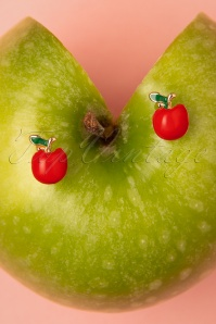50s Apple Stud Earrings in Red