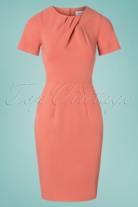 Closet London 60s Vivianna Pencil Dress in Coral Pink