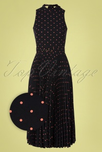 Closet London 50s Penny Polkadot Pleated Dress in Black and Pink