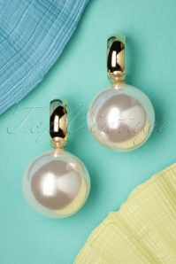 Darling Divine Go Big Or Go Home Pearl Earrings Années 50 en Doré