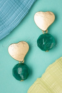 Darling Divine 50s Love Rocks Marble Earrings in Gold