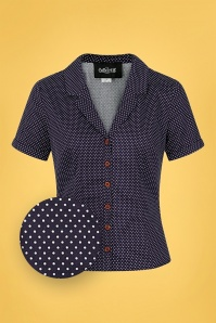 Collectif 32161 Caterina Mini Polka Dot Shirt in Navy 20200120 020L Z
