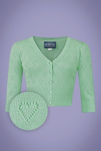 Collectif 32217 Evie Heart Cardigan Green 20191030 021LZ