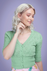 Collectif 32217 Evie Heart Cardigan Green 20191030 020LW