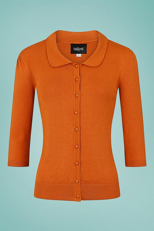 Vintage Sweaters, Retro Sweaters & Cardigan Ladies 50s Jorgie Knitted Cardigan in Orange £42.63 AT vintagedancer.com