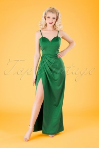 Collectif Clothing 50s Lya Occasion Maxi Dress in Emerald Green