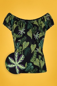 50s Lorena Forest Top in Black and Green