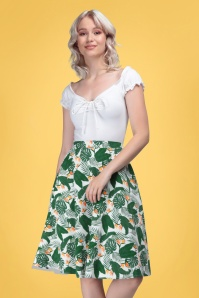 Collectif 32148 Mattie Bird of Paradise Swing Skirt White 20191030 020L W