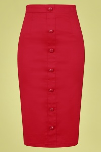 Collectif 32122 Bettina Pencil Skirt Red 20191030 021L W