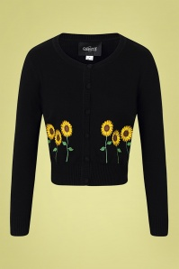 Collectif 32137 Abigail Sunflower Cardigan Black 20191030 021LW