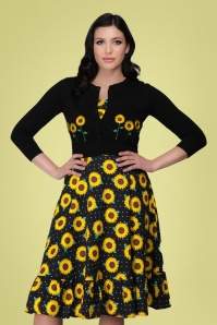 Collectif 32137 Abigail Sunflower Cardigan Black 20191030 020LW