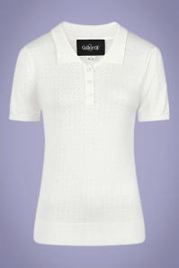 Collectif 32131 Pina Pointelle Knitted Polo Ivory 20191030 021L W