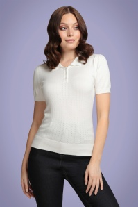 Collectif 32131 Pina Pointelle Knitted Polo Ivory 20191030 020L W