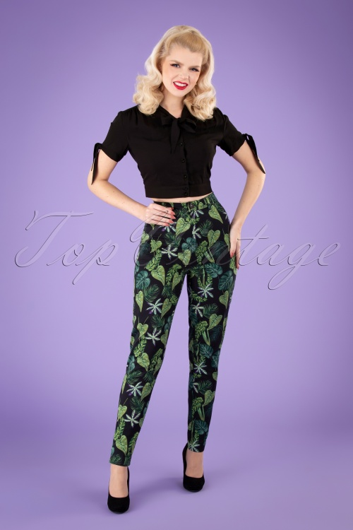 Collectif 32146 Maddie Black Forest Trousers Black 040MW