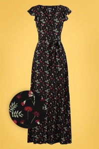 Collectif 32213 Thelma Pressed Flower Maxi Dress Black 20191030 021L Z