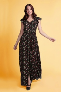Collectif 32213 Thelma Pressed Flower Maxi Dress Black 20191030 020L W