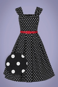 Collectif 32201 Jill Polka Dot Swing Dress Black 20191030 021L Z